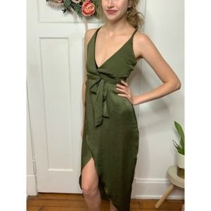Missguided Olive Belted Wrap Asymmetrical Dress